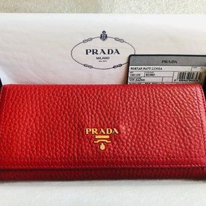 Prada Classic Continental Flap Wallet Red
